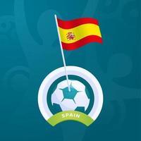 Spanien vektorflagga fästs på en fotboll vektor