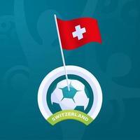 Schweiz Vektor Flagge an einem Fußball befestigt
