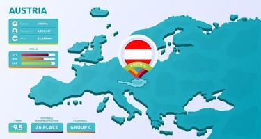 isometrische Karte von Europa mit hervorgehobenem Land Österreich