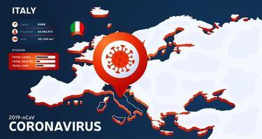isometrische Karte von Europa mit hervorgehobenem Land Italien