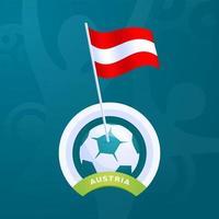 Österreich Vektor Flagge an einem Fußball befestigt