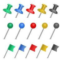 Push Pin Set Vektor Design Illustration isoliert auf weißem Hintergrund