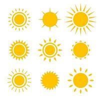 sol ikonuppsättning vektor design illustration isolerad på vit bakgrund