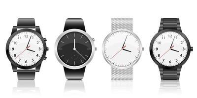 realistische Uhrensatzvektorentwurfsillustration lokalisiert auf weißem Hintergrund vektor
