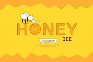 Biene im Papierschnitt mit Waben. Schablonendesign für Imkerei und Honigprodukt. vektor