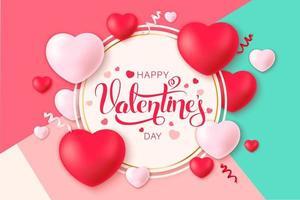 glücklicher heiliger Valentinstaghintergrund mit Herzen und Konfetti auf abgewinkeltem Musterhintergrund