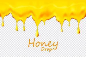 nahtloser tropfender Honig wiederholbar lokalisiert auf transparentem Hintergrund, Vektorgrafiken und Illustration. vektor