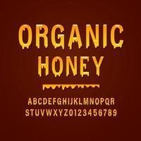 """""""Honig"""" Vintage ohne Serife gerundetes Alphabet. Retro-Typografie mit satten Farben und saftigem, leckerem Look. Vektorillustration. vektor"""