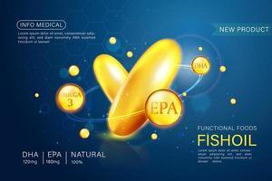 Fischöl Anzeigen Vorlage, Omega-3-Kapseln mit seiner Verpackung. Tiefsee Hintergrund. 3D-Illustration. vektor