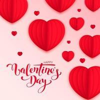 glückliche Valentinstagvektor-Grußkartenentwurf mit Papier geschnittenen roten Herzformen