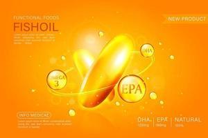 Fischöl-Anzeigenschablone, Omega-3-Kapsel isoliert auf chromgelbem Hintergrund. 3D-Illustration. vektor