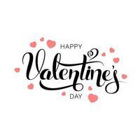 Vektor glückliche Valentinstag-Weinlesekarte mit Beschriftung