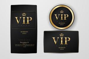 VIP Party Premium Einladungskarten Poster Flyer. schwarz und silber design vorlage set. vektor