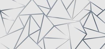 abstrakte silberne metallische Verbindungslinien auf weißem Hintergrund. geometrisches Dreieck Gradientenformmuster. Luxusstil.