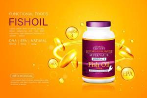Fischöl Anzeigen Vorlage, Omega-3-Kapseln mit seiner Verpackung. orange Hintergrund. 3D-Illustration. vektor