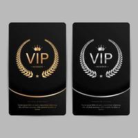 VIP Party Premium Einladungskarten Poster Flyer. schwarz, silber und gold design vorlage set. vektor