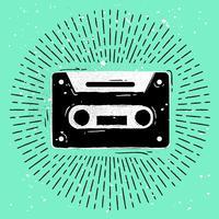 handdragen kassett siluett vektor