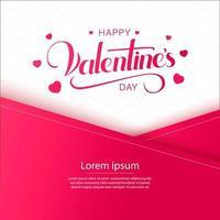 Glücklicher Valentinstag überlappendes Papierdesign mit Herzen und Schriftzug vektor