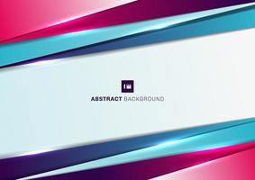 abstrakt bakgrundsmall geometrisk triangel blå och rosa lutning färg diagonal överlappar med ljuseffekt. vektor