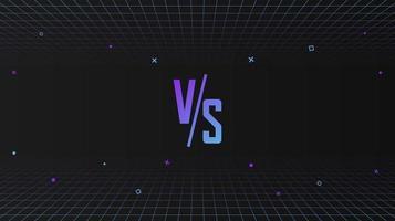 versus Schablonendesign im 80er-Jahre-Stil, futuristischer Synth-Retro-Wellenhintergrund mit geometrischen Bewegungsformen vektor