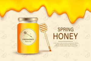 Bauernhofhonig. Anzeigenplakatschablone mit realistischem Honig, gesundem Bio-Lebensmittel-Bauernhofverpackungshintergrund. Bauernhofhonig, Lebensmittel süß biologisch, Imkerei natürliche Illustration vektor