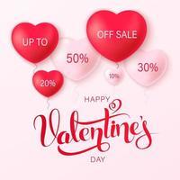 glad saint alla hjärtans dag bakgrund med hjärta ballonger vektor