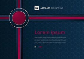 rosa Kreisband der abstrakten Schablone 3d mit geometrischem Muster auf blauem Hintergrundraum für Ihren Text. vektor