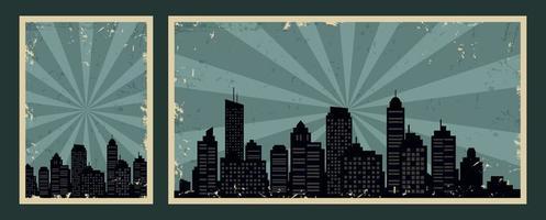 retro vintage banners med stadsbild och grunge effekt vektor