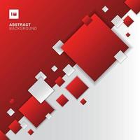 abstrakte rote und weiße Farbverlaufsdiagonale trennen geometrische Quadrate, die Hintergrundtechnologiekonzept überlappen.