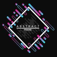 Rahmendesign, dynamischer weißer Rahmen mit bunten abstrakten geometrischen Formen auf einem schwarzen Hintergrund vektor