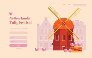 Niederlande Tulip Festival Landing Page, Webseitenvorlage. vektor