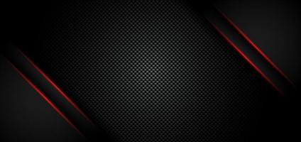 abstrakte metallische rote glänzende Farbe schwarzer Rahmenlayout moderne technische Entwurfsschablone auf Kohlefasermaterialhintergrund und -beschaffenheit vektor