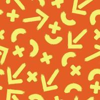 sömlösa mönster med penseldrag element i varma färger vektor