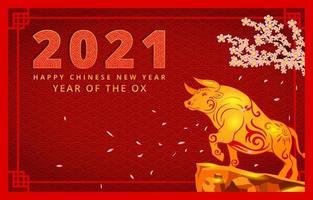 kinesiskt nyår av oxen vektor
