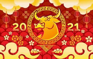goldener Ochse 2021 chinesisches Neujahr vektor