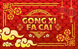 Gong Xi Fa Cai in Mondrot Luxus vektor