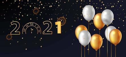 goldene Countdown-Uhr und Ballonhintergrund vektor