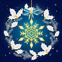 goldene Schneeflocke im weißen Kranz vektor