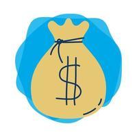 pengar dollar väska isolerad ikon