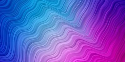 hellrosa, blauer Vektorhintergrund mit gebogenen Linien. vektor