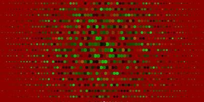 dunkelgrüner, roter Vektorhintergrund mit Blasen.