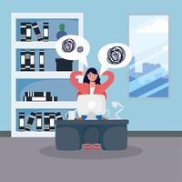 stressad affärskvinna som arbetar på skrivbordet