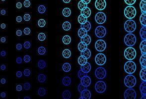 mörkblå vektor bakgrund med mysteriesymboler.