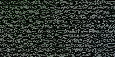 dunkelgrüner Vektorhintergrund mit gebogenen Linien.
