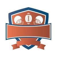 American-Football-Ballon mit Helmen im Schild