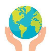 händer som lyfter världsplaneten jorden vektor