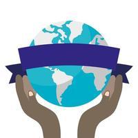 afrikanska händer som lyfter världsplaneten jorden vektor