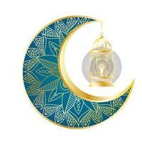 gyllene måne och lykta hängande ramadan kareem vektor