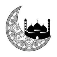 monokrom måne och taj mahal ramadan kareem dekoration