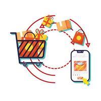 smartphone med kundvagn och kundvagnens e-handel vektor
